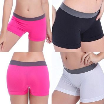 DCCKIX3 New Summer Women Sports Gym Workout Waistband Skinny Yoga Shorts One Size = 1933212932
