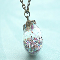 glitter globe ornament necklace