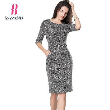 Women Autumn Office Dress Pencil Vintage Print Bodycon Midi Dress Half Sleeve Knee Length Sexy Dresses Vestidos Boho Robe Femme