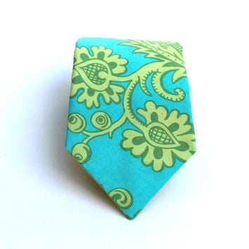 Men's Tie - Aqua Blue and Lime Green Damask - In Stock