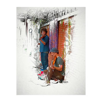 New Orleans Art, Street Musicians, Violinists, French Quarter Scene, 8x10 11x14 16x20 Giclee Print - Fiddling the Time Away - Korpita