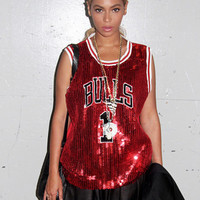 Beyonce Sequins Bulls Jersey Summer Style sequined Women Fashion Clothing Tops Rose t shirt Sleeveless t-shirt Sexy Red tees