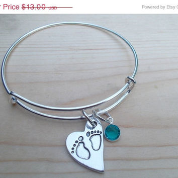 ON SALE Adjustable Silver Bangle Bracelet With Footprints Charm And Birthstone Charm,Remembrance,Angel Baby,Infant Loss,Birth Announcement,B