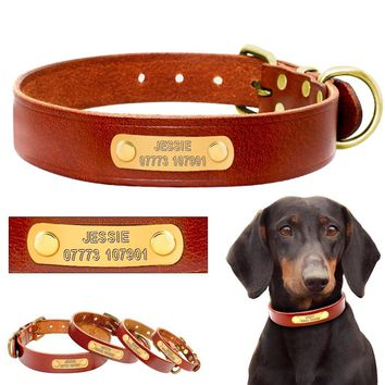 Leather Collar Customized Pet Name And Phone Number Engraving