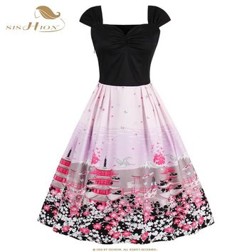SISHION Summer Dress 2018 Robe Sexy Pink Women Dress Tunic Casual 1950s 60s Floral Print Retro Vintage Big Swing Dresses VD0546