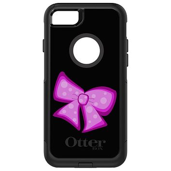 DistinctInk™ OtterBox Commuter Series Case for Apple iPhone or Samsung Galaxy - Pink Black Bow Ribbon