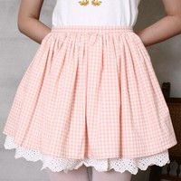 Japan Gyaru Cutie Lolita Kawaii Dolly Princess Garden Country Checke Puffy Skirt