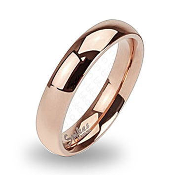 Spikes Solid Titanium 4mm Rose Gold IP Classic Band Ring