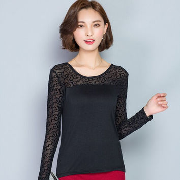 Spring Autumn New Black T shirt For Women Casual Basic shirt Fashion Women shirt Tops elasticity Plus size clothing