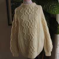 Ready to ship /Gorgeous Hand KnittedHANDMADE Cream aran by ufer