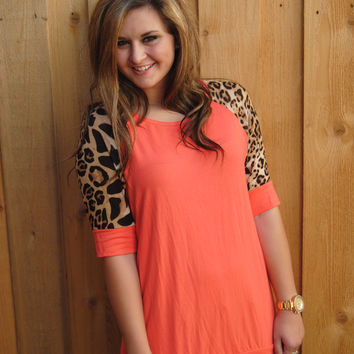 Coral and Leopard Short Sleeve Top (S-XL)
