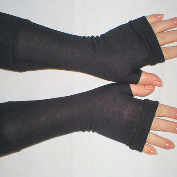 long black fingerless gloves with cuffs