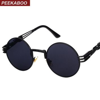 Peekaboo New silver gold metal mirror small round sunglasses men brand vintage round sun glasses women cheap high quality UV