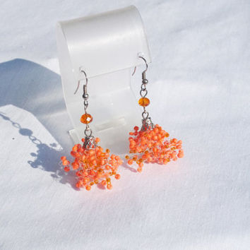 SALE Terracotta earrings Orange earrings Seed beads earrings air earrings Beaded earrings Bridesmaid Wedding trending jewelry