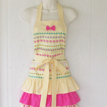 Ruffled Easter Apron / Cute / Yellow / Pink / Polka Dots / Ruffles / Eclectasie