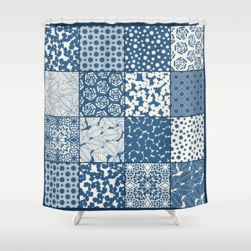 Tile Patchwork Shower Curtain by Eileen Paulino