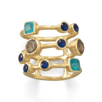 14k Yellow Gold over Sterling Silver Green Jade, Labradorite and Blue Glass Layered Ring