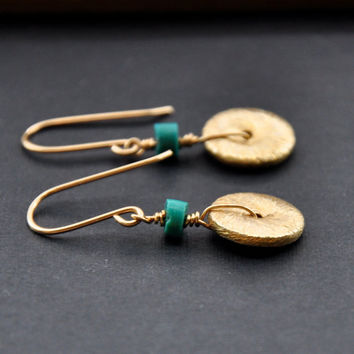 Gold Turquoise Earrings Beaded Gemstone Earring by GueGueCreations
