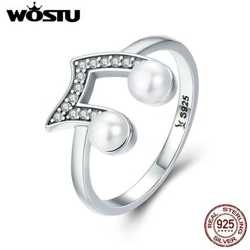 WOSTU Authentic 925 Sterling Silver Music Melody Notes Wedding Band Finger Ring Women Anniversary S925 Ring Jewelry CQR201