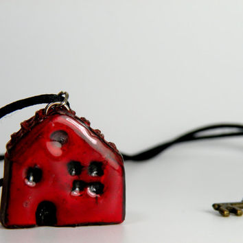 Red Mini House Necklace, House Pendant, Handmade Necklace, Miniature House Jewelry