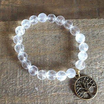 Faceted Rock Crystal Bracelet with Tree Of Life Charm