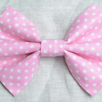 Small Pink Polka Dot Hair Bow