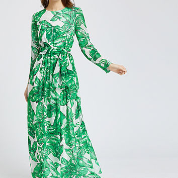 Green Palm Leaf Print Long Sleeve Maxi Dress
