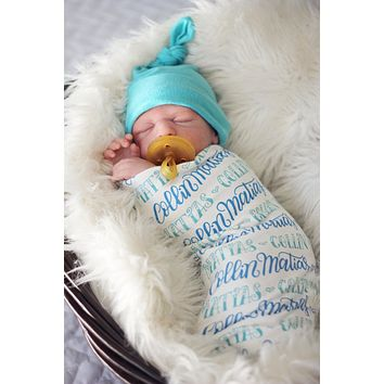 Personalized Swaddle - 2 color design - Birth announcement