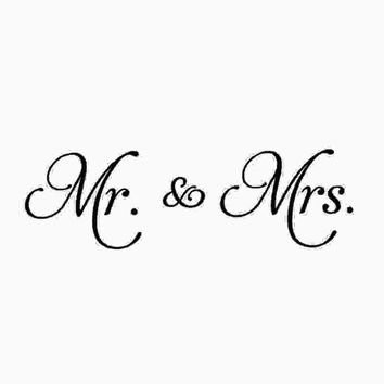 Mr. & Mrs. DIY Wall Stickers Vinyl Wall Decal Living Room Decor Removable Convenient 2 Size for Bedroom New Couple