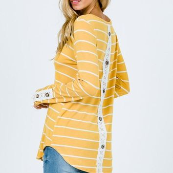 Lace Back Button Up Top - Mustard