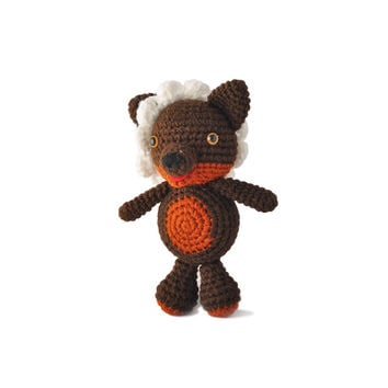 Brown Wolf Handmade Amigurumi Stuffed Toy Knit Crochet Doll VAC