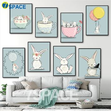 Frameless Wall Art Painting Modern Kawaii Watercolor Rabbits Canvas Painting Wall Pictures For Kids Room Nursery Home Decor