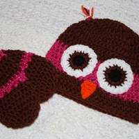 Pink sparkle and Brown Crocheted Infant Thumbless Mittens And Owl Hat set- Baby Shower, First Christmas, First Winter Baby Mittens