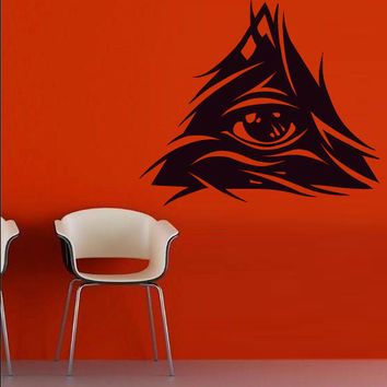 Wall decal decor decals art sticker all seeing eye annuit coeptis illuminati god triangle providence inscription (m778)