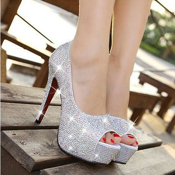 Sparkling rhinestone wedding shoes open toe high-heeled white single shoes women's party bridal shoes low price