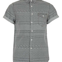 Grey Aztec Print Short Sleeve Denim Shirt - Men's Shirts  - Clothing