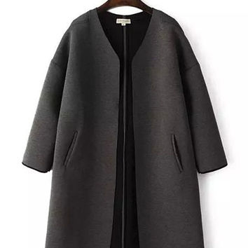 V-Neck Long Sleeve Trench Coat with Pocket