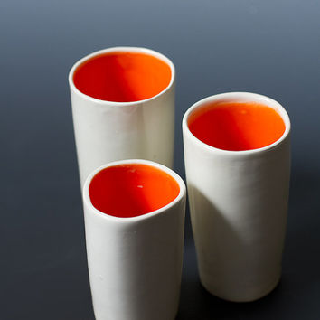 3 piece Small White gloss and Orange Ceramic Sake Cups / Ceramic Shot Glasses Simple, Modern and Bright White Cup Set - ready to ship