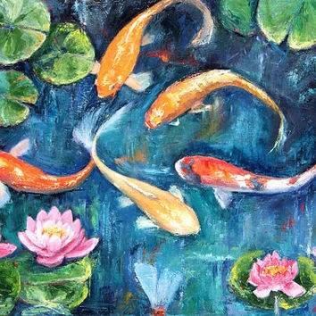 Original Painting Impressionist Water Lilies and Koi Fish Oil Art  Palette Knife Orange and Blue Green
