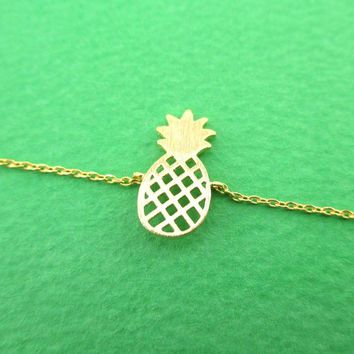Pineapple Shaped Fruit Charm Bracelet in Gold | DOTOLY