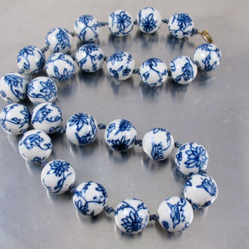 Vintage Chinese Porcelain Bead Necklace, Blue White Painted Hand Knotted Large Bead Necklace, Vintage Chinese Export Jewelry, Lotus Flower