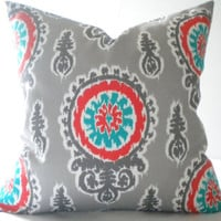 Turquoise, grey and orange medallion print pillow cover, FABRIC BOTH SIDES, all sizes available