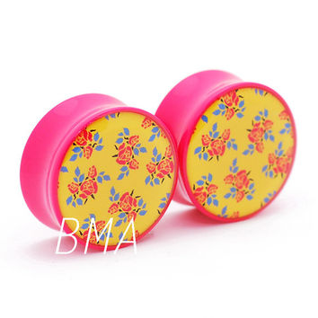 """7/16"""" (11mm) 70's Inspired Pink and Yellow Floral BMA Plugs Pair"""