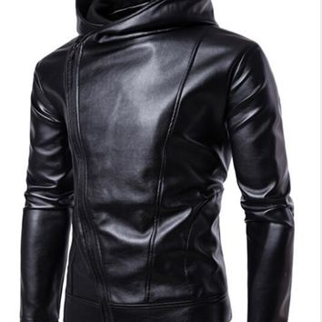ZHUOFEI PU Faux Leather Jacket Men Biker Jacket Leather Jacket Male Motorcycle Jacket LEATHER HOOD black M-4XL