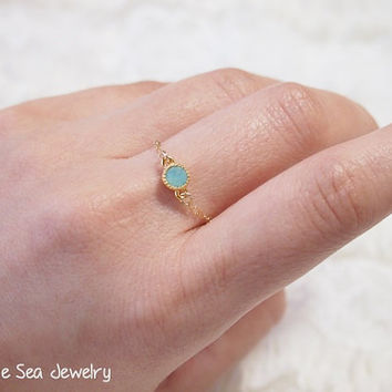 Delicate gold filled chain Ocean green Swarovski dainty bezel ring - simple everyday ring