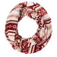 Stripes & Tribal Infinity Scarf by Charlotte Russe - Red Combo