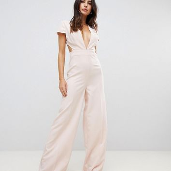 ASOS Plunge Neck Jumpsuit with Wide Leg and Open Back at asos.com