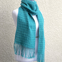 Hand woven scarf in turquoise teal colors in waffle pattern