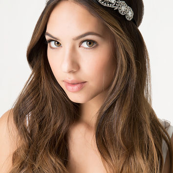 bebe Womens Crystal & Bead Headband Silver