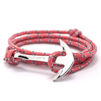 Silver Anchor On Salmon Rope Bracelet